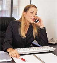 Sales agent on phone